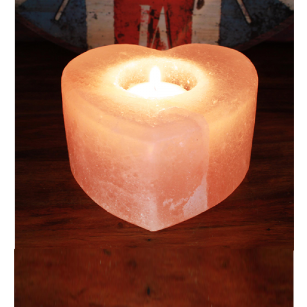 Pink Heart Himalayan Salt Candle Holder