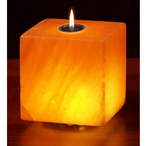 Pink Square Himalayan Salt Candle Holder