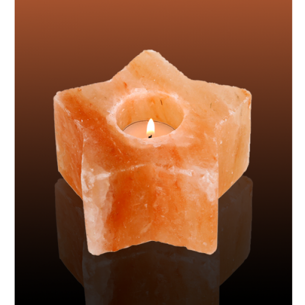 Pink Star Himalayan Salt Candle Holder