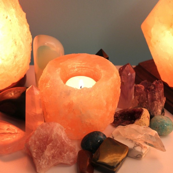 Natural Pink Salt Candle Holder