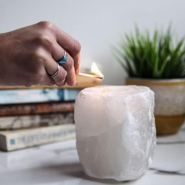 White Natural Salt Candle Holder
