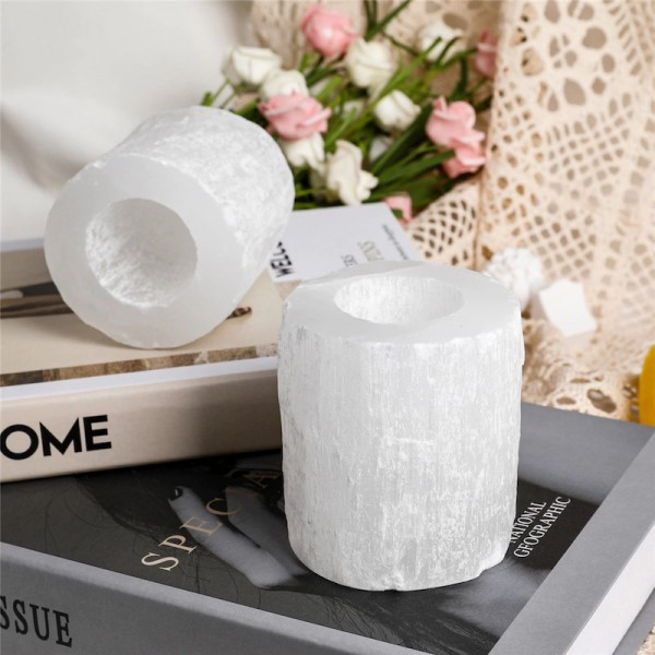 White Cylinder Himalayan Salt Candle Holder
